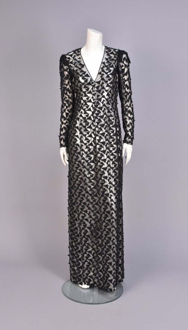 STAVROPOULOS APPLIQUED NET and  METALLIC GOWN, 1980s.