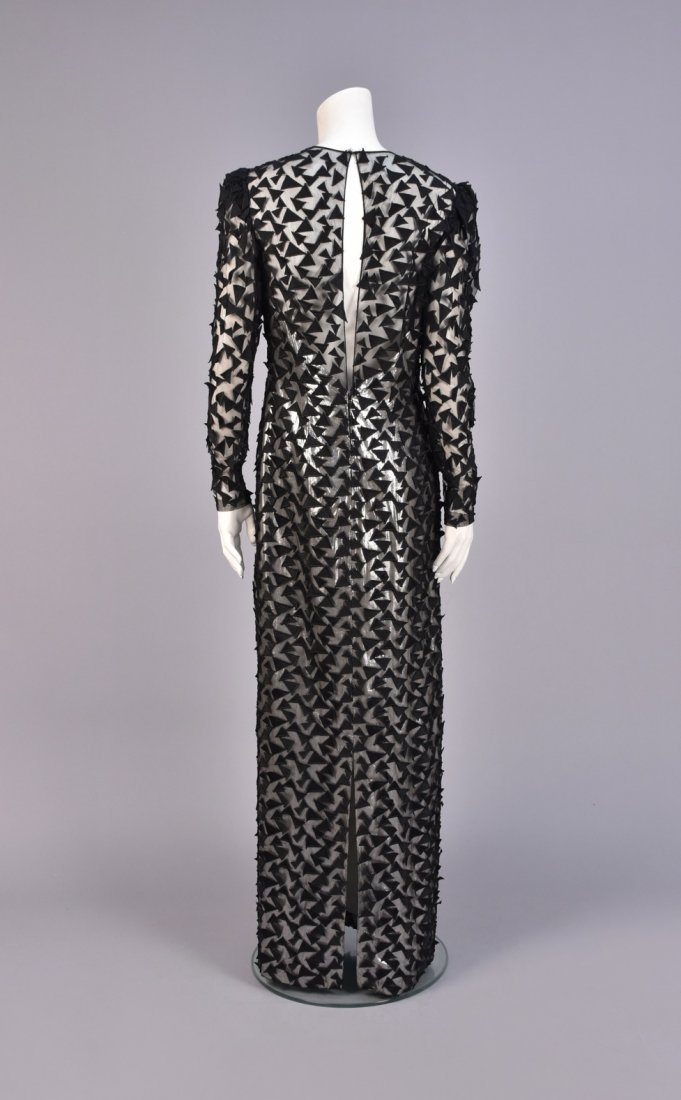 STAVROPOULOS APPLIQUED NET and  METALLIC GOWN, 1980s. - 2