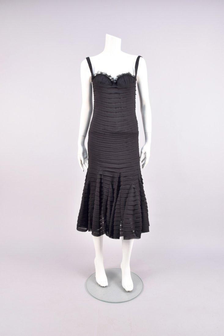 ALEXANDER McQUEEN SHUTTER PLEAT CHIFFON DRESS, 2005.