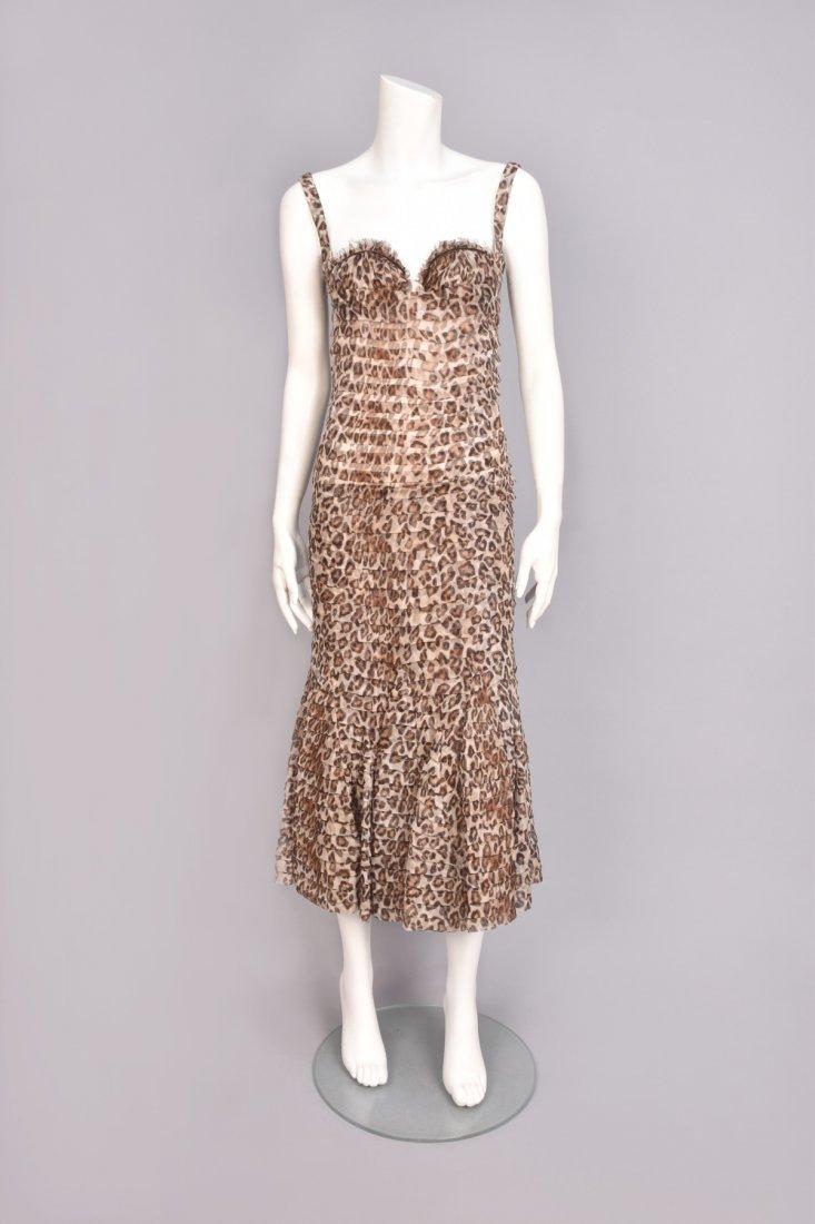 ALEXANDER McQUEEN LEOPARD PRINT BUSTIER DRESS, 2005.