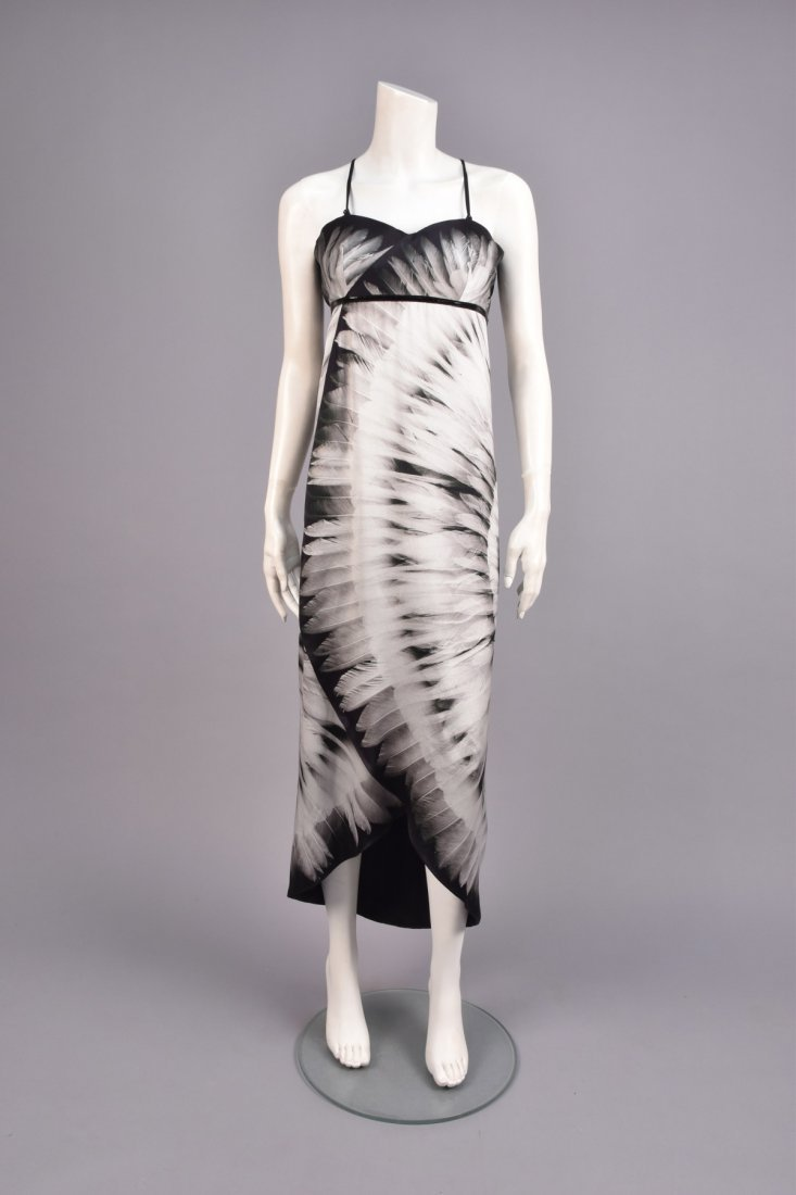 ALEXANDER McQUEEN FEATHER PRINT SILK DRESS, 2007