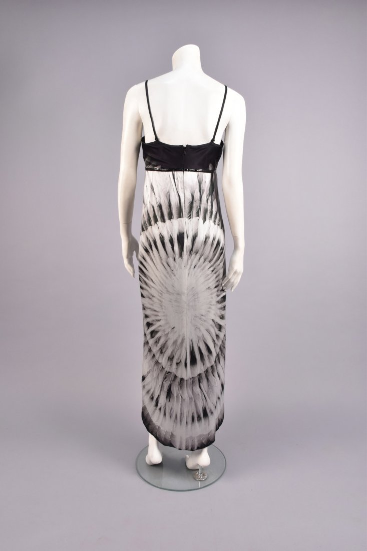 ALEXANDER McQUEEN FEATHER PRINT SILK DRESS, 2007 - 2