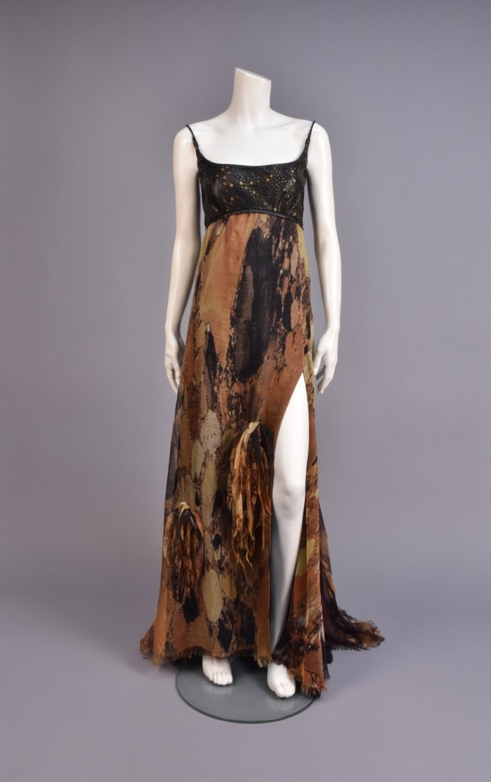 RALPH RUCCI CHADO SILK and LEATHER GOWN with WRAP