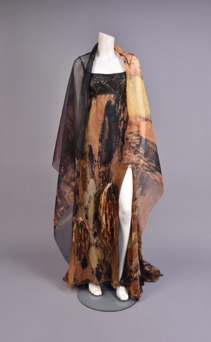 RALPH RUCCI CHADO SILK and LEATHER GOWN with WRAP - 2