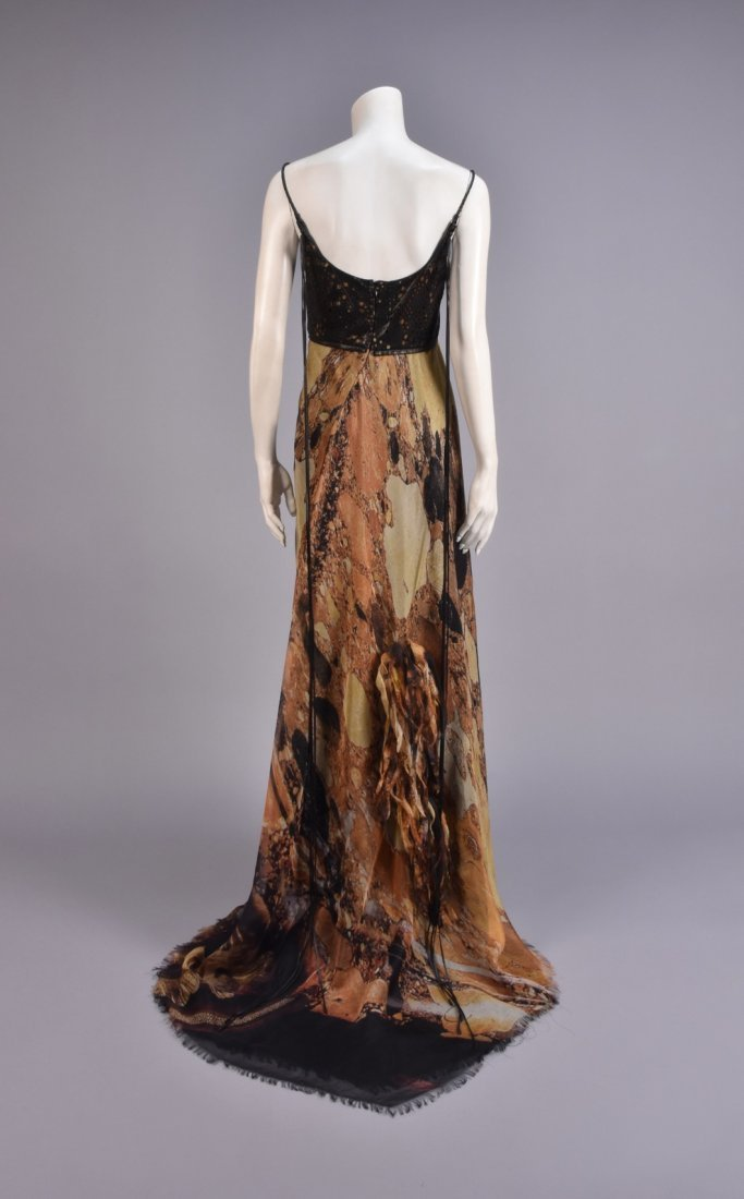 RALPH RUCCI CHADO SILK and LEATHER GOWN with WRAP - 3