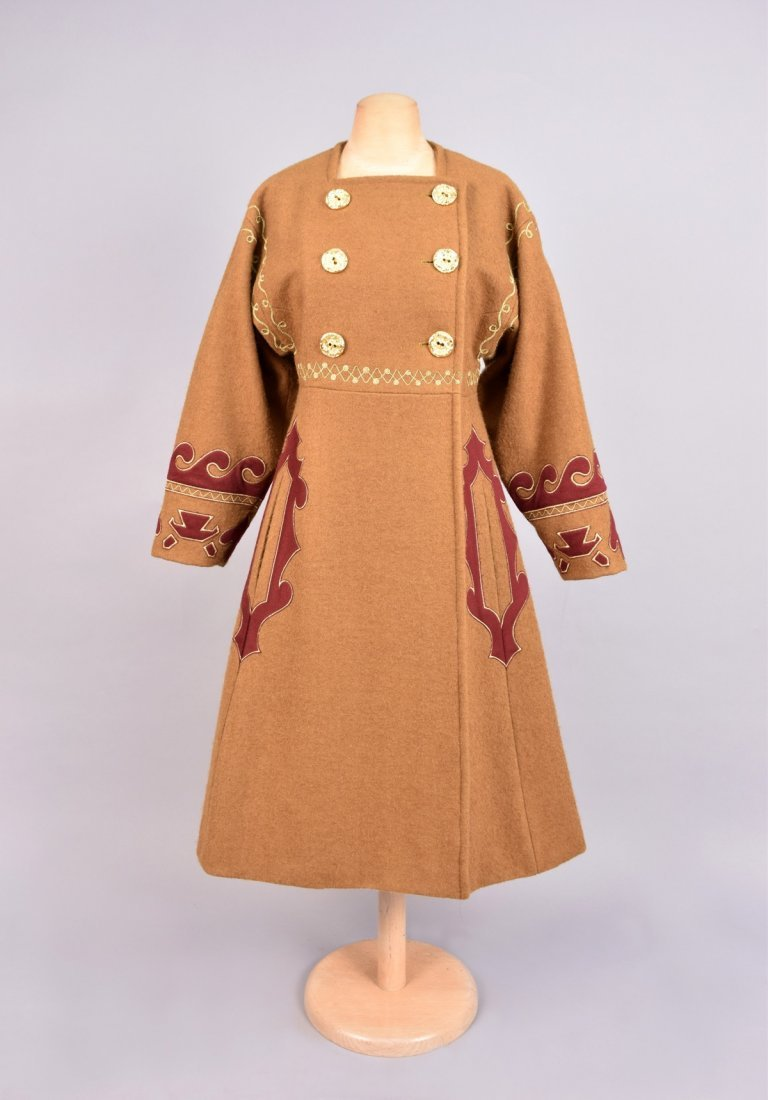 CHRISTIAN LaCROIX COSSACK STYLE WOOL COAT.