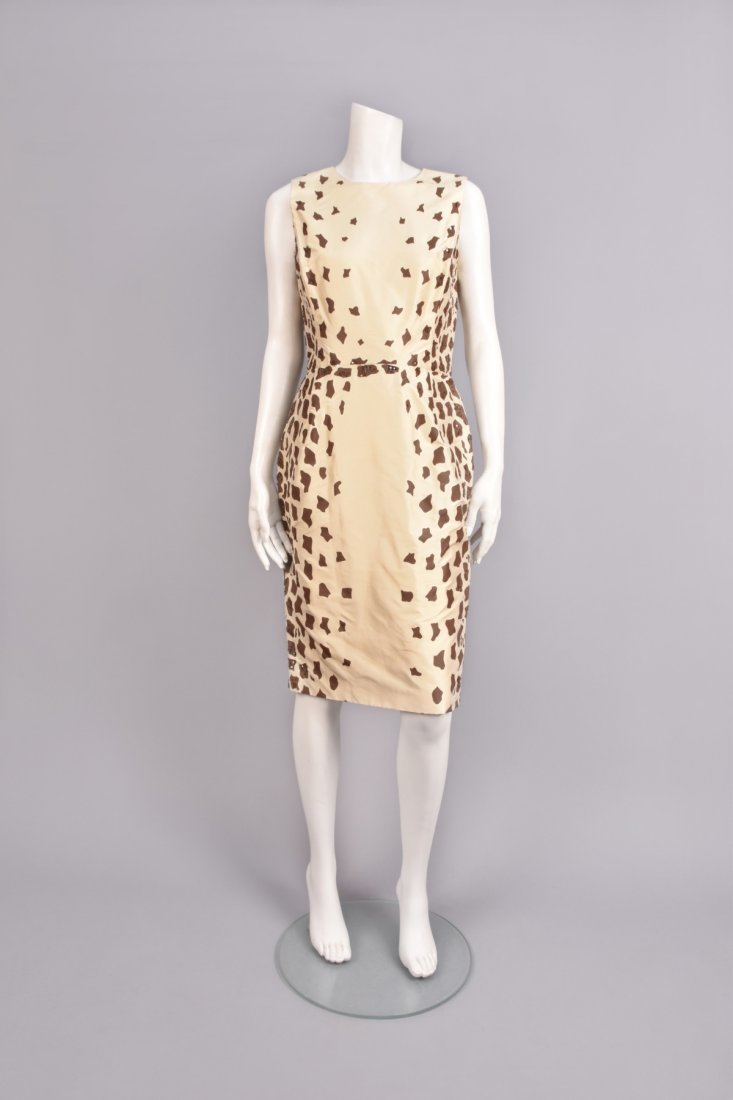 OSCAR de la RENTA BEADED GIRAFFE PRINT DRESS