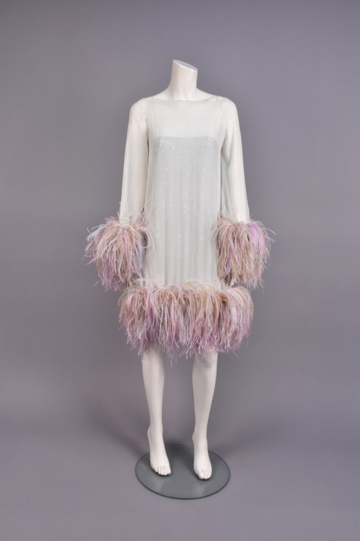 VALENTINO 2-PIECE CHIFFON FEATHER DRESS over SEQUINS.