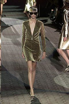 TOM FORD for GUCCI GLITTERING DRESS with GILT TIGER, - 5