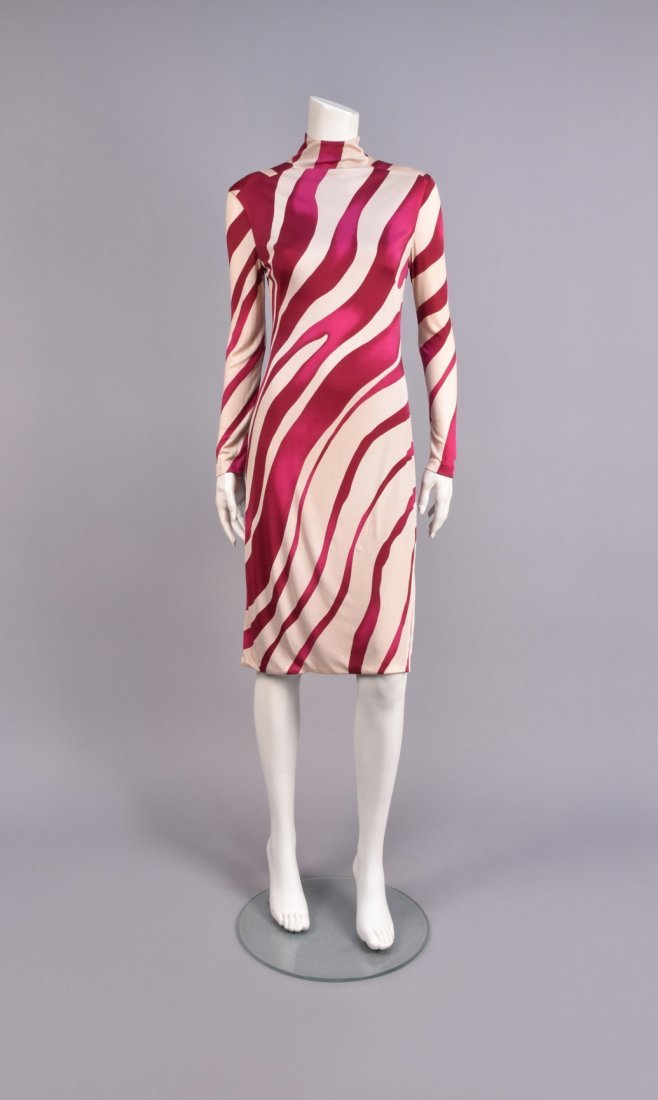 VERSACE  PRINTED JERSEY DAY DRESS.