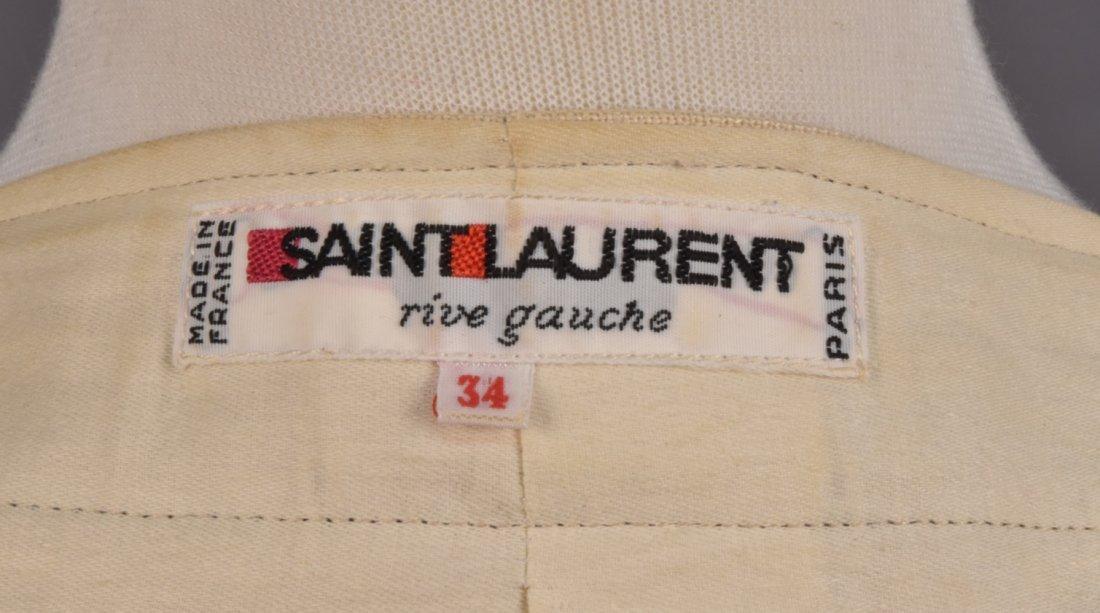 SAINT LAURENT RIVE GAUCHE LINEN SKIRT SUIT, 1980s. - 4