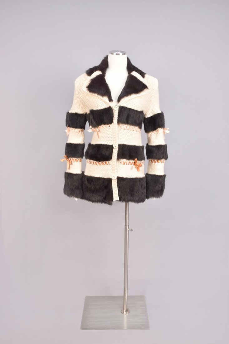 JOHN GALLIANO SWEATER with FUR BANDS and RIBBONS.