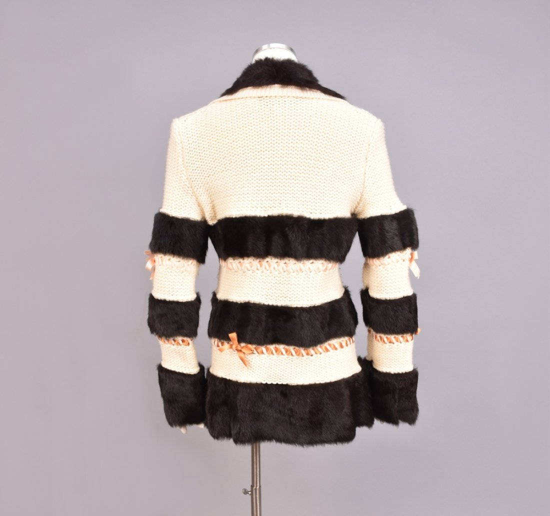 JOHN GALLIANO SWEATER with FUR BANDS and RIBBONS. - 2