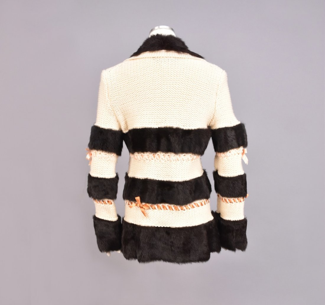 JOHN GALLIANO SWEATER with FUR BANDS and RIBBONS. - 3