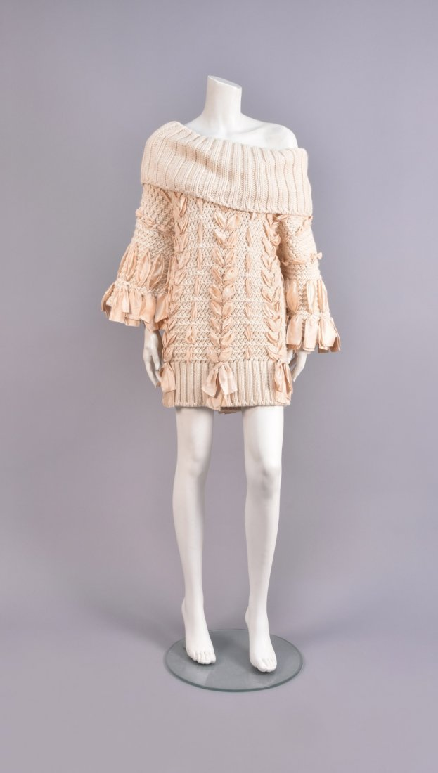 GALLIANO for DIOR BULKY KNIT SWEATER with RIBBONS.