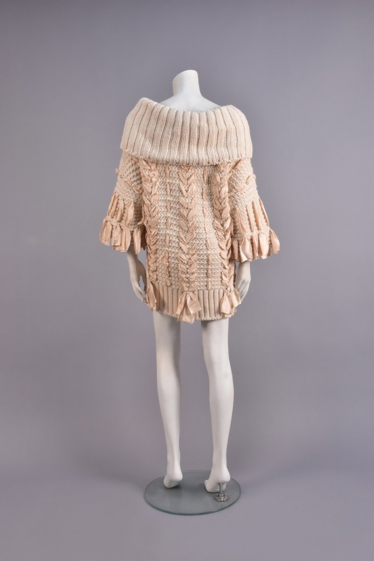 GALLIANO for DIOR BULKY KNIT SWEATER with RIBBONS. - 2