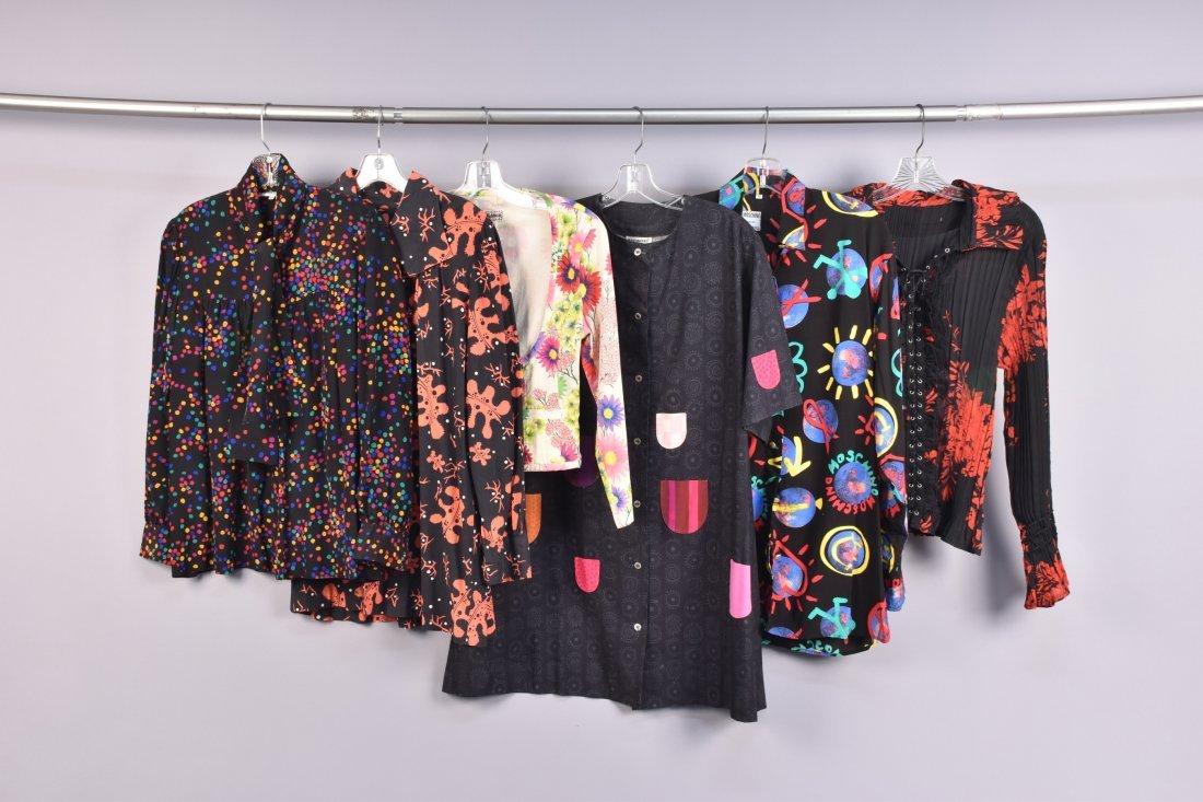FOUR DESIGNER LADIES PRINTED GARMENTS 1960s - 1980s