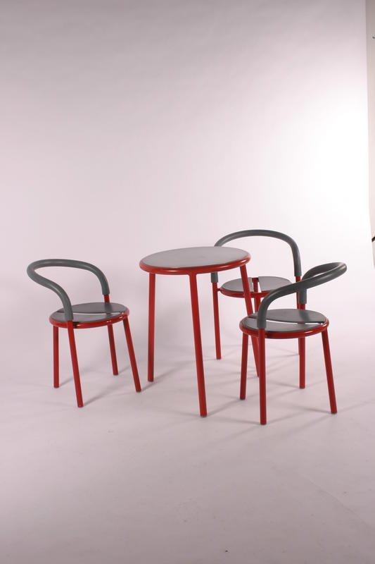 3: Fritz Hansen Coffee table, 3 chairs, Denmark 1986