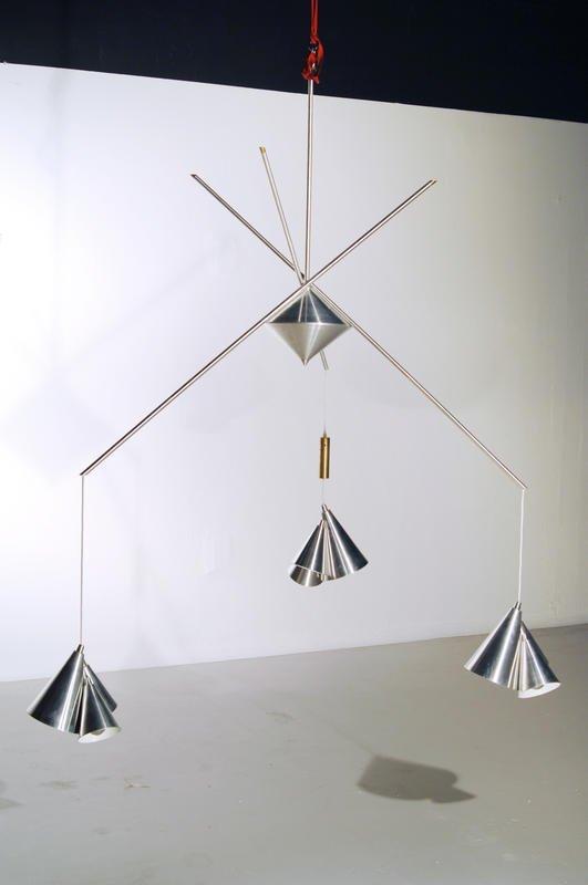 15: Mid Century Modern Counter balance chandelier, 1980