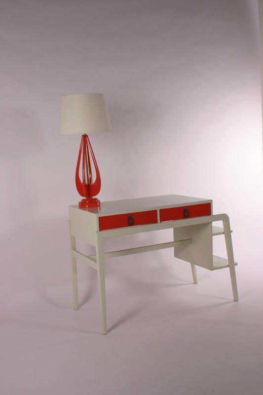 60: Mid Century Modern Desk with lamp, circa 1960-1970