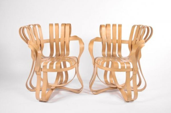 """7: Frank O Gehry """"Crosscheck"""" chairs, pair, USA 1992"""