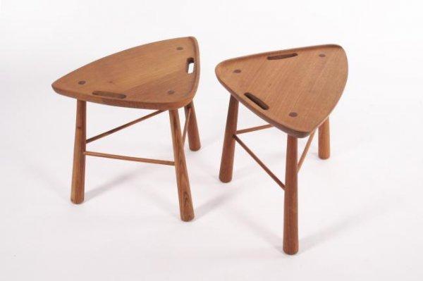 23: Mid-Century Modern Cedar stools, USA circa 1950