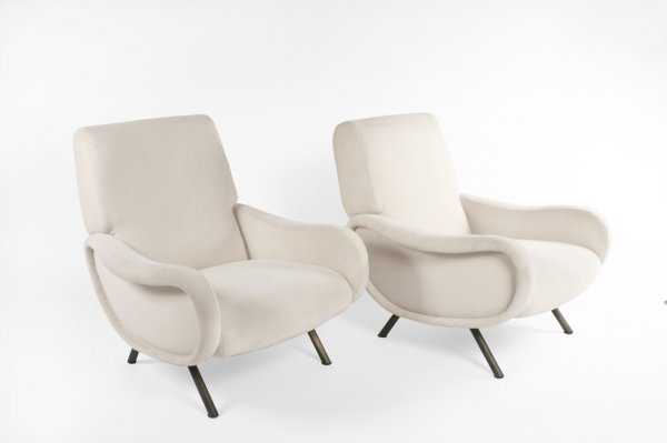 6: Marco Zanusso club chairs, pair, Italy c. 1950