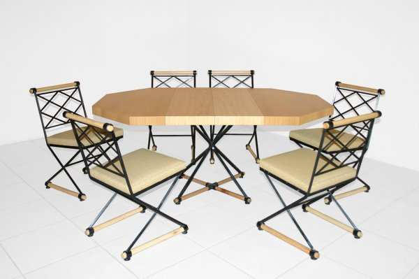 17: Cleo Balden dining table and 6 chairs, USA c. 1950