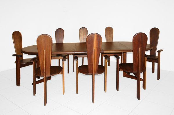 55: Gerald McCabe table and 8 chairs, USA c. 1960