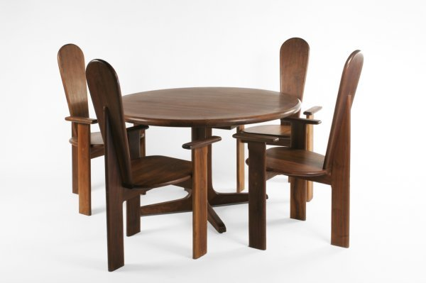 55: Gerald McCabe table and 8 chairs, USA c. 1960 - 2