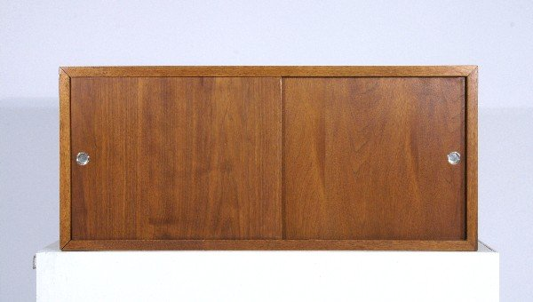 12: Danish Modern wall mounted case with sliding doors