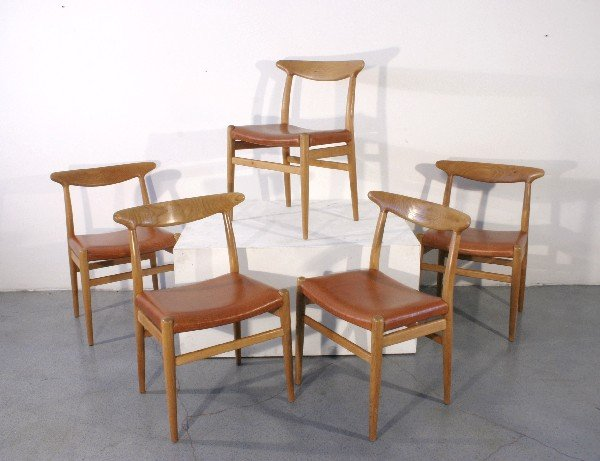 16: Hans J. Wegner chairs, set of 6, Denmark c. 1950