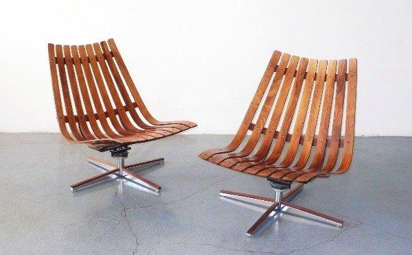 17: Mid-Century Modern Swivel Slat chairs, Norway 1950s