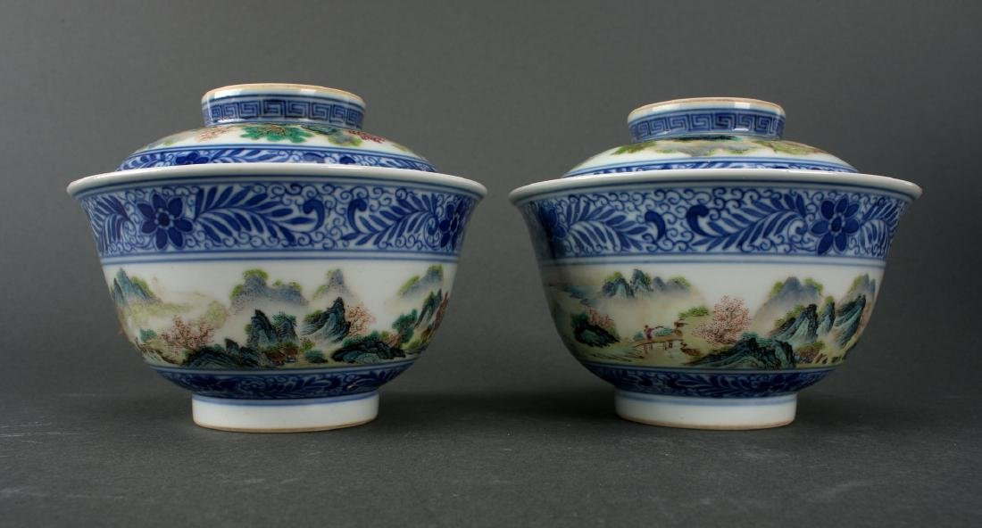 TWO LIDDED PORCELAIN RICE BOWLS IN BOX - 10