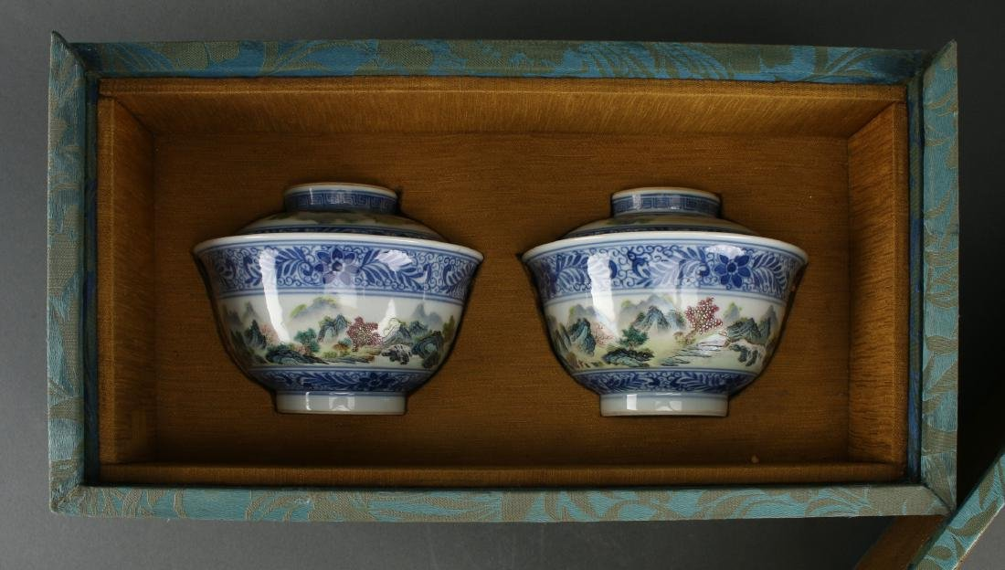 TWO LIDDED PORCELAIN RICE BOWLS IN BOX