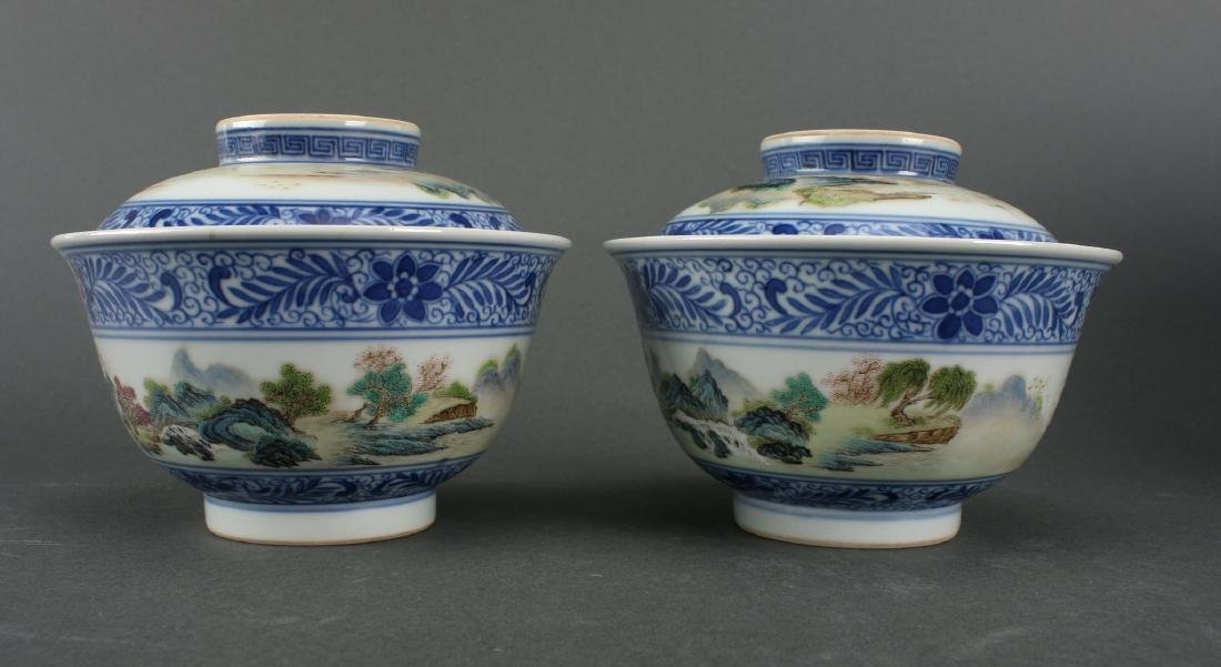TWO LIDDED PORCELAIN RICE BOWLS IN BOX - 2