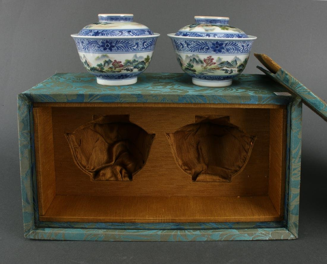 TWO LIDDED PORCELAIN RICE BOWLS IN BOX - 7