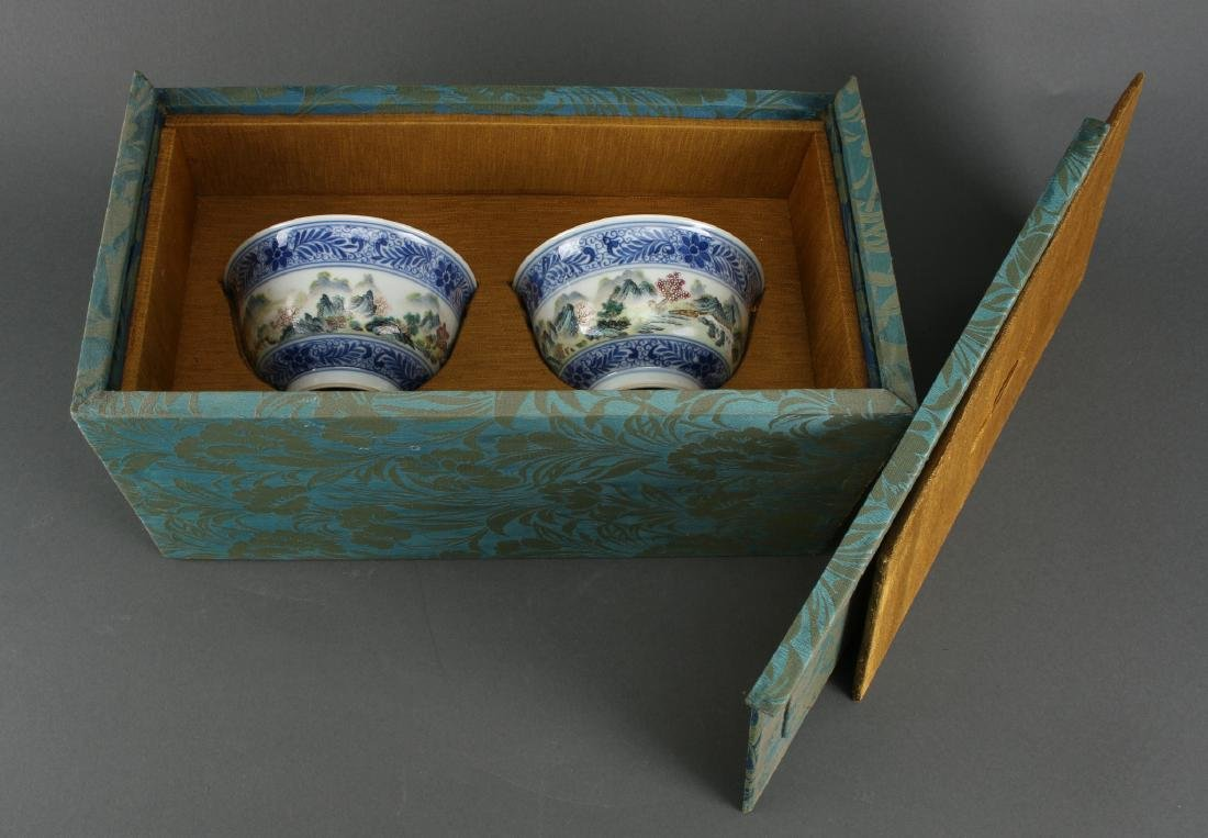 TWO LIDDED PORCELAIN RICE BOWLS IN BOX - 8