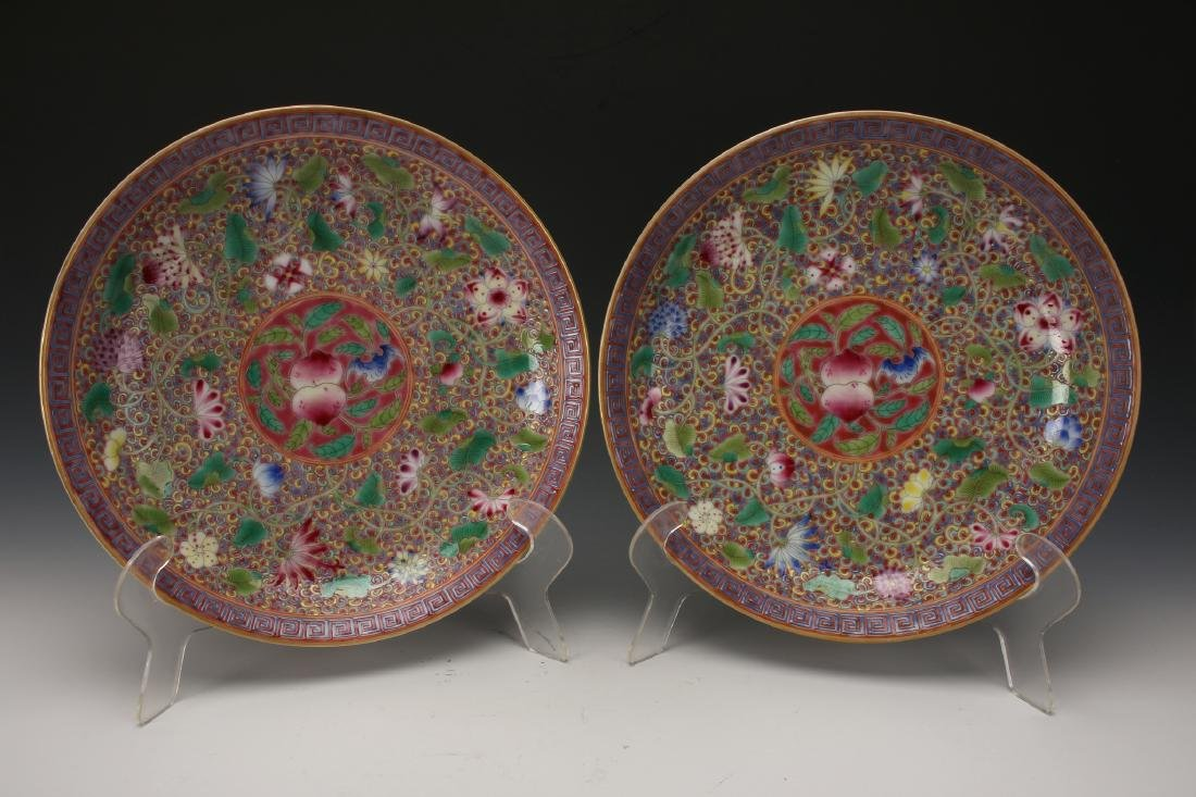 PAIR OF FAMILLE ROSE PEACH PLATES