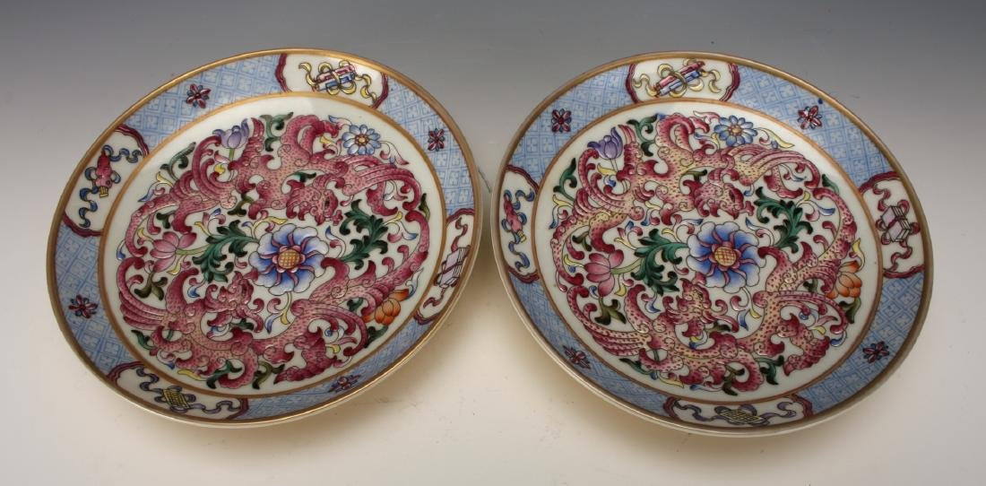 PAIR OF FAMILLE ROSE SAUCERS