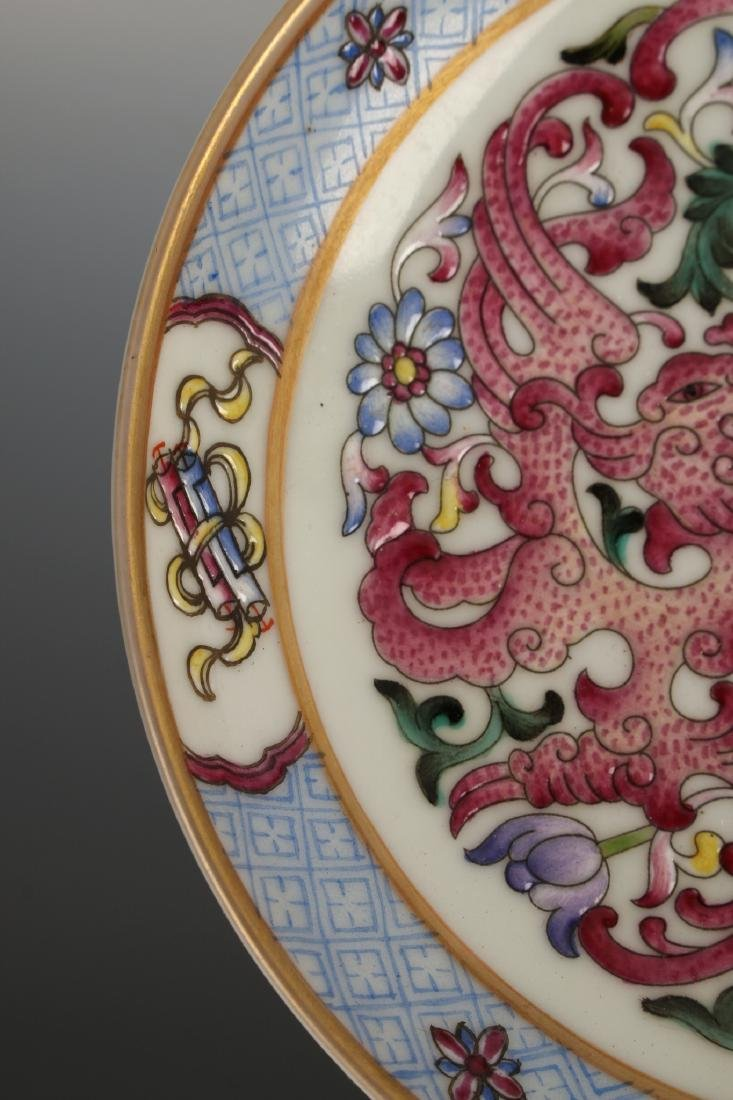 PAIR OF FAMILLE ROSE SAUCERS - 3