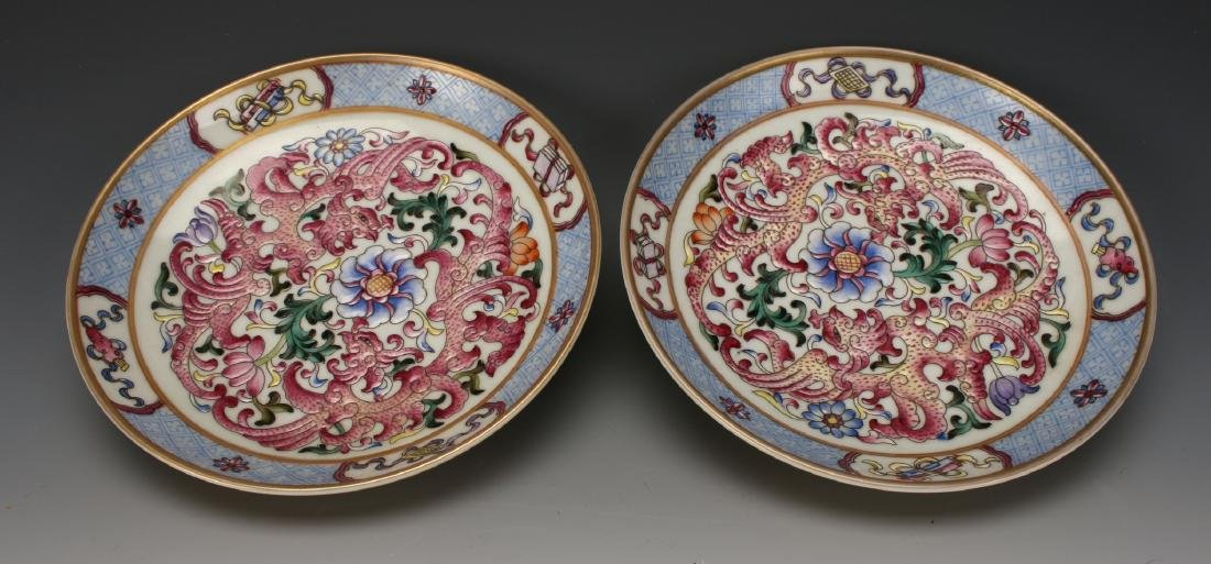 PAIR OF FAMILLE ROSE SAUCERS - 7