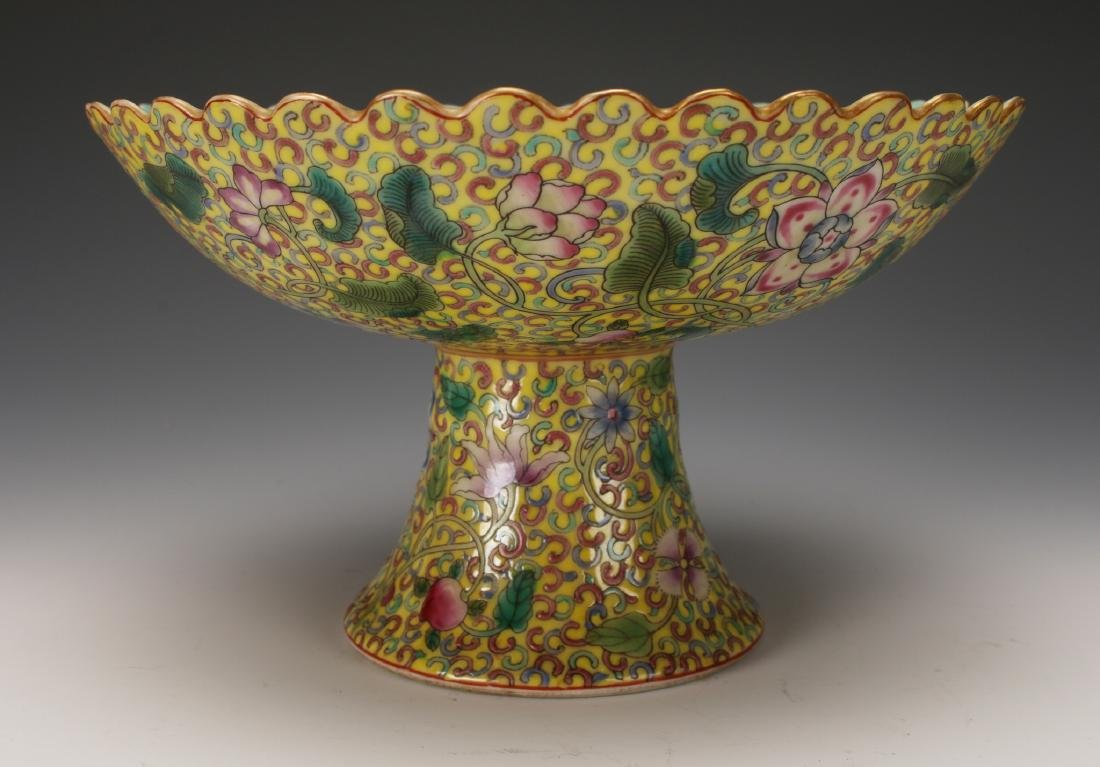 YELLOW ENAMELED QIAN LONG PORCELAIN HIGH DISH