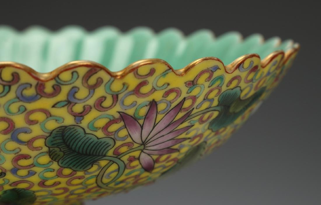 YELLOW ENAMELED QIAN LONG PORCELAIN HIGH DISH - 4