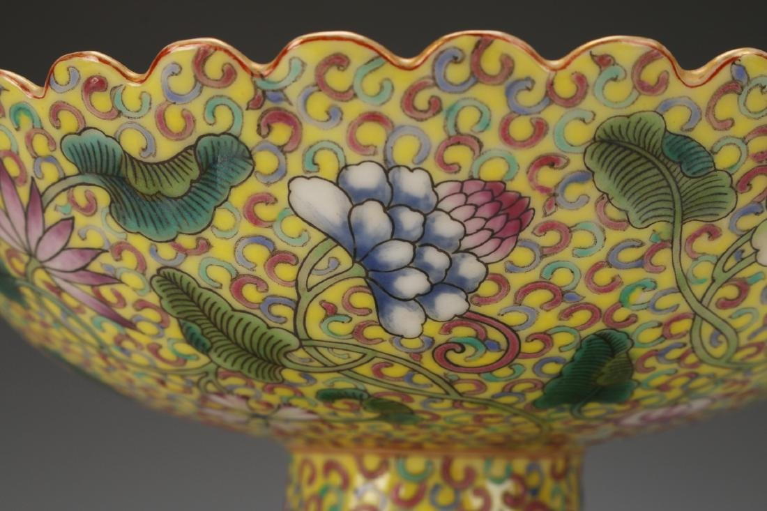 YELLOW ENAMELED QIAN LONG PORCELAIN HIGH DISH - 6