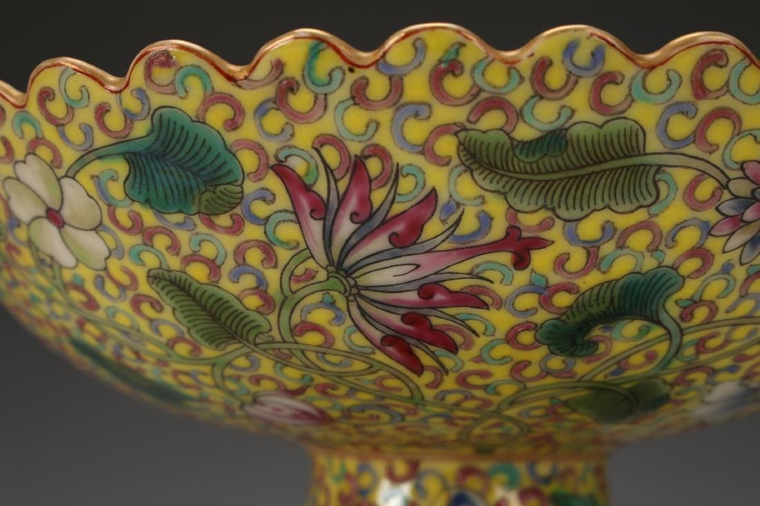 YELLOW ENAMELED QIAN LONG PORCELAIN HIGH DISH - 8