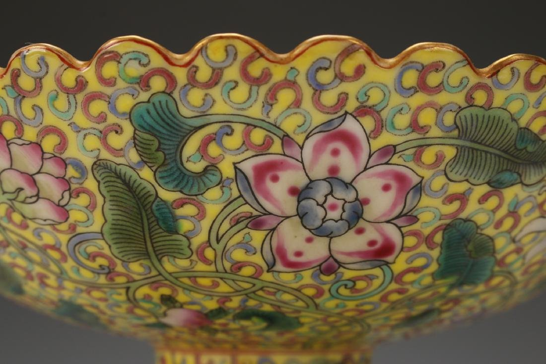 YELLOW ENAMELED QIAN LONG PORCELAIN HIGH DISH - 9