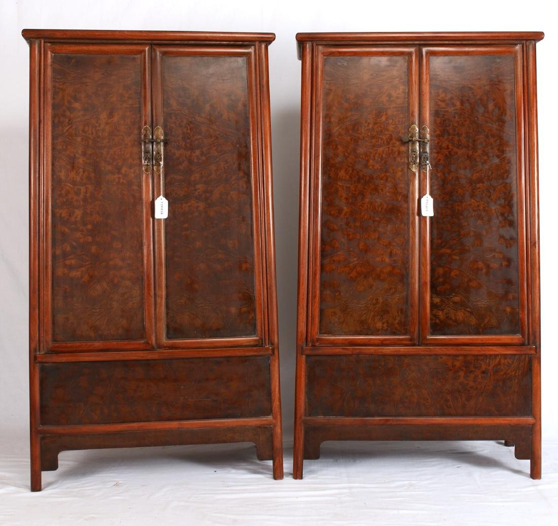 PAIR OF SHORT HUANG HUA LI CABINETS