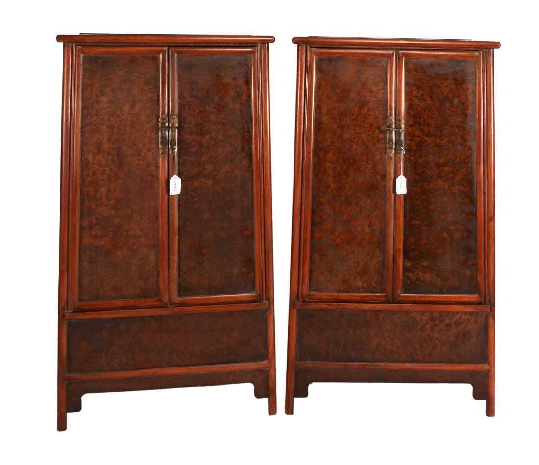 PAIR OF SHORT HUANG HUA LI CABINETS - 2