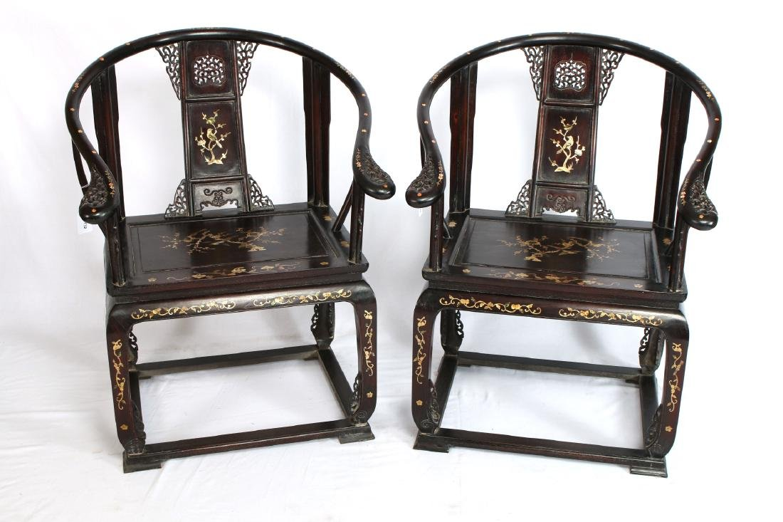 """PAIR OF ZITAN """"QUANYI"""" CHAIRS WITH NACRE INLAY - 2"""